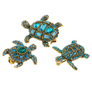 """Turtley Obsessed"" Crystal Turtle Pin Set - Heidi Daus®"