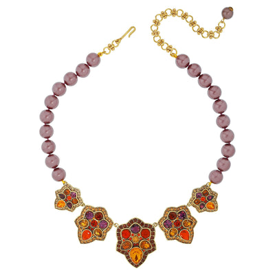 """Foliage Fortune"" Crystal Beaded Floral Necklace"