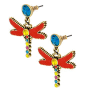 "HEIDI DAUS®""Garden Critter"" Enamel Crystal Dragonfly Drop Earrings - Heidi Daus®"
