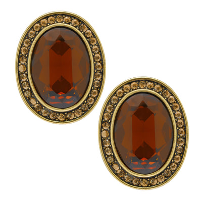 "Signature Accent"" Crystal Classic Button Earrings"
