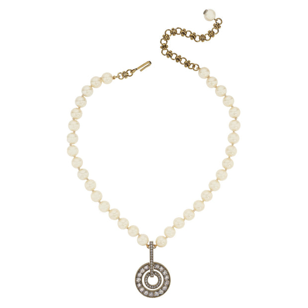 "HEIDI DAUS® ""Double Circle"" Crystal and Pearl Pendant Necklace - Heidi Daus®"