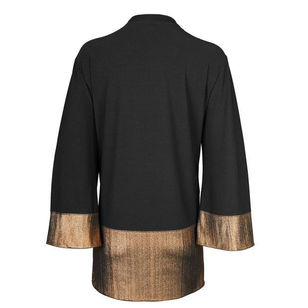 "Heidi Daus® ""Golden Elegance""  Black and Gold Color Block Kimono Cardigan"