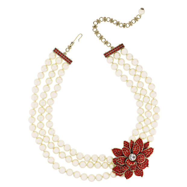 """Christmas Star"" Crystal & Pearl Holiday Necklace - Heidi Daus®"