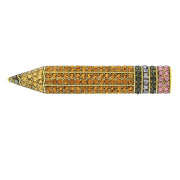 """Teachers Pet"" Crystal Pencil Pin"