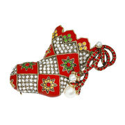"HEIDI DAUS® ""Quilted Christmas Stocking"" Enamel & Crystal Stocking Pin - Heidi Daus®"
