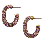"""Lovely Links"" Crystal Half-Hoop Earrings - Heidi Daus®"