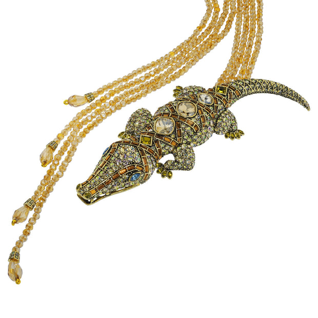 """Alligator Garden"" Crystal Beaded Alligator Necklace - Heidi Daus®"