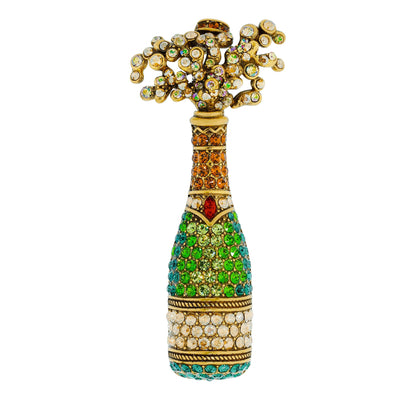 """Beautiful Bubbly"" Crystal Champagne Bottle Pin"