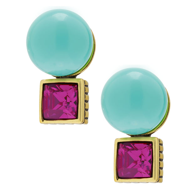 """Super Stud"" Pearl & Crystal Button Earrings"