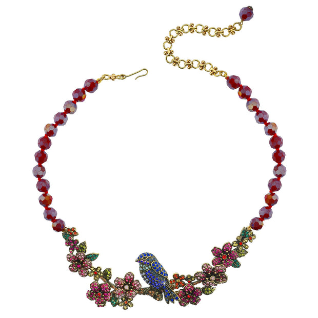 """On A Lark"" Beaded Crystal Bird Necklace - Heidi Daus®"