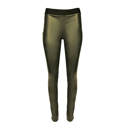 HEIDI DAUS® Film Noir Olive Green High Waisted Vegan Leather Leggings - Heidi Daus®