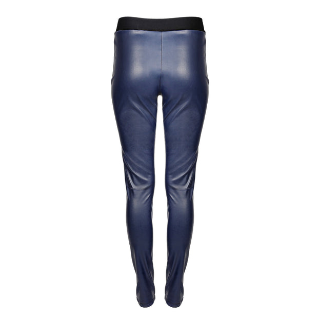 HEIDI DAUS® Film Noir Navy Blue High Waisted Vegan Leather Leggings - Heidi Daus®