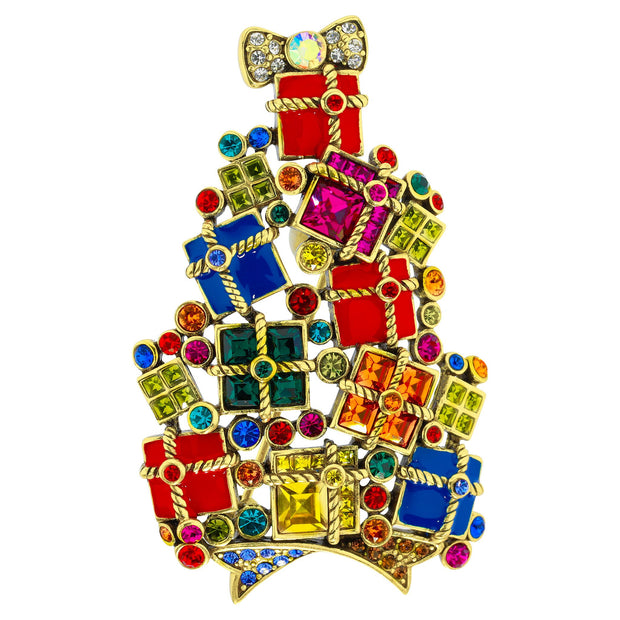"""Gifts Galore"" Enamel & Crystal Pile of Presents Pin - Heidi Daus®"