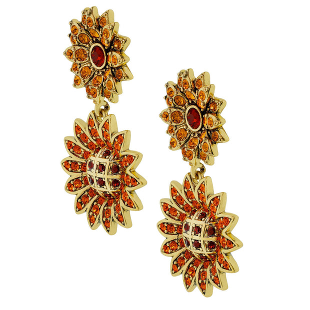 """Autumn Abundance"" Crystal Drop Floral Earrings"
