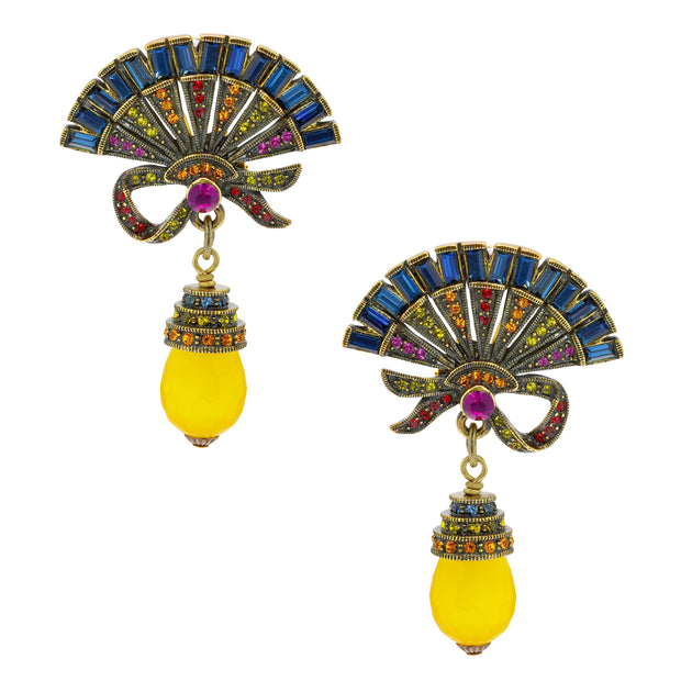 """Chinois Fan"" Beaded Crystal Drop Earring - Heidi Daus®"