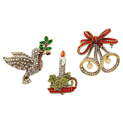 """Holiday Trio"" Crystal Bell Candle & Dove Pin Set"