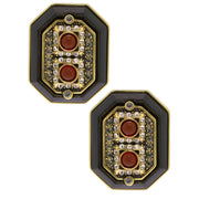 """Power Source"" Enamel & Crystal Button Earrings - Heidi Daus®"