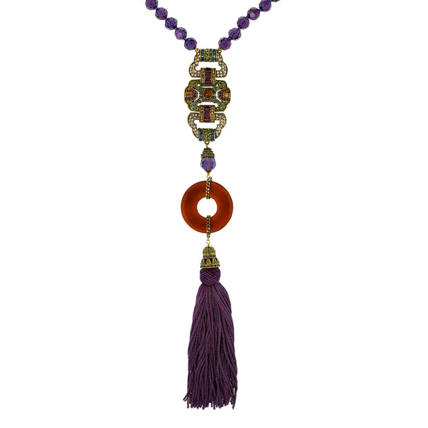 "HEIDI DAUS® ""Classic Deco Heirloom"" Beaded Resin Crystal Tassel Necklace - Heidi Daus®"