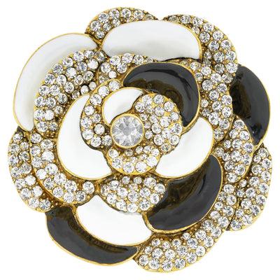 """Captivating Camellia"" Enamel & Crystal Floral Pin"