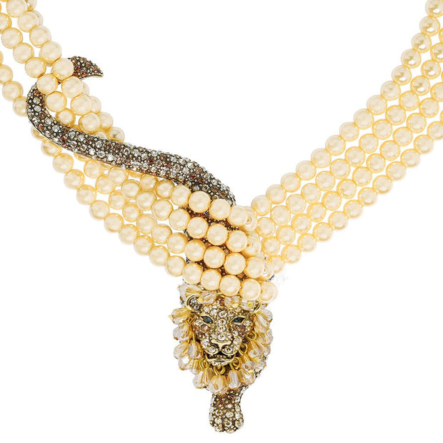 """Feline Wrap-ture"" Pearl & Crystal Lioness Necklace - Heidi Daus®"