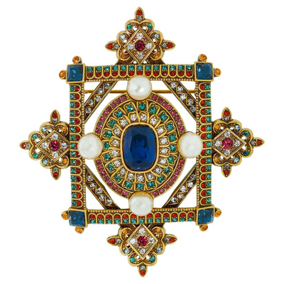 """Contemporary Collectable"" Beaded Crystal Deco Pin"