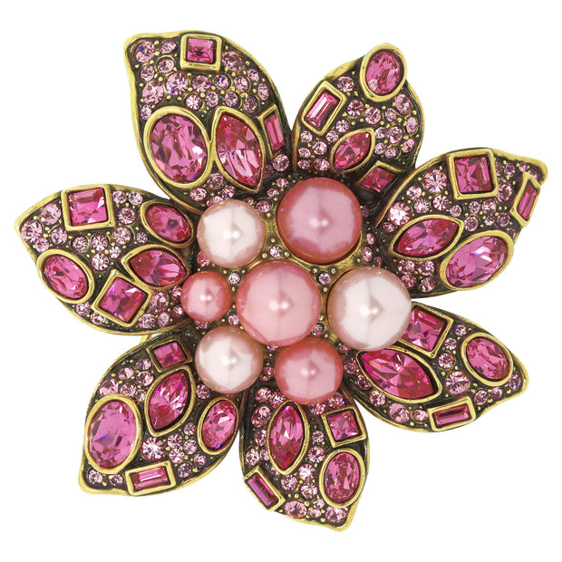 """Lovely Linda"" Pearl and Crystal Floral Pin - Heidi Daus®"