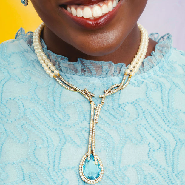 """Runway Chic"" Beaded Crystal Drop Necklace - Heidi Daus®"