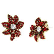 """Christmas Star"" Crystal Holiday Button Earrings"