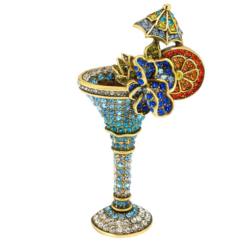 """Lavish Libations"" Crystal Cocktail Pin"