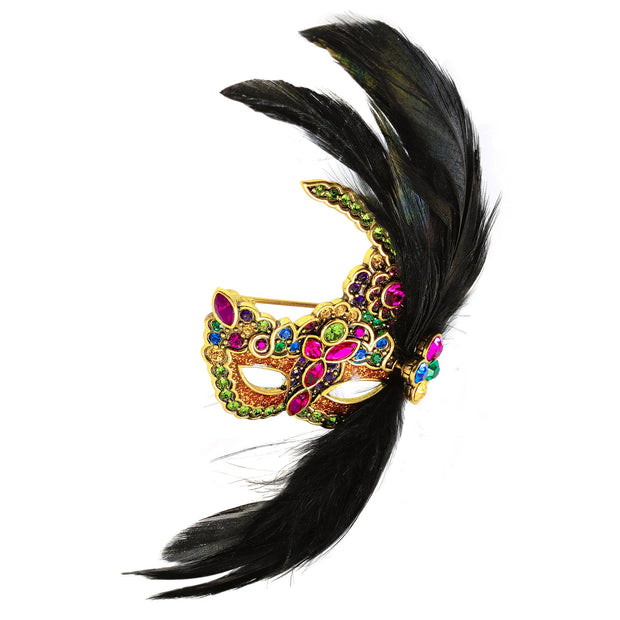 "HEIDI DAUS® ""Masquerade Ball"" Crystal Feather & Masque Gala Pin - Heidi Daus®"