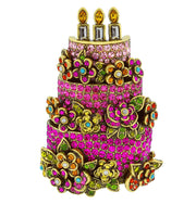 """Blossoming Birthday"" Crystal Birthday Cake Pin - Heidi Daus®"