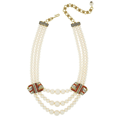 """Ribbon Candy"" Graduated Pearl Crystal Necklace"