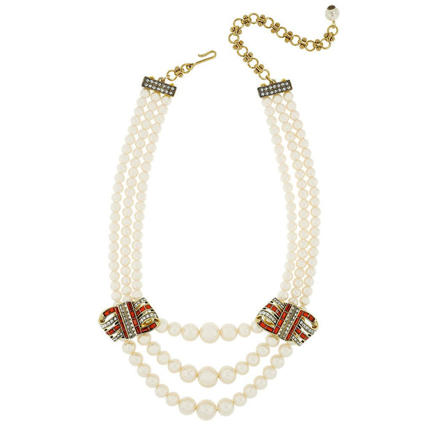 "HEIDI DAUS® ""Ribbon Candy"" Graduated Pearl Crystal Necklace - Heidi Daus®"