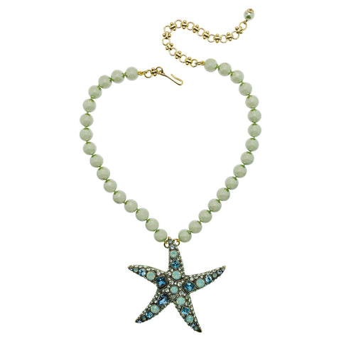 """Star-Lite"" Crystal Starfish Drop Necklace"