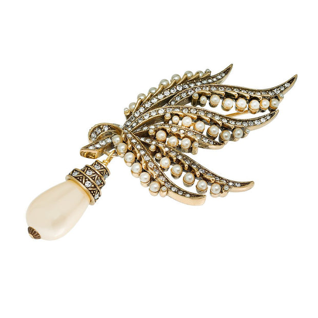 "HEIDI DAUS® ""A Touch of Class"" Pearl and Crystal Drop Pin - Heidi Daus®"
