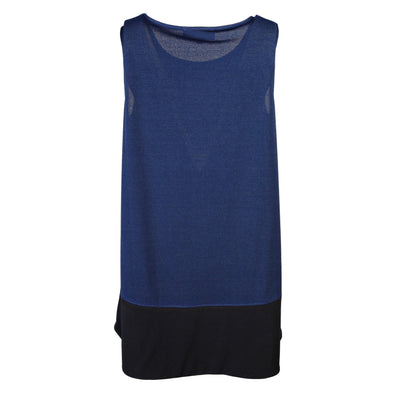 "Heidi Daus® ""Sleeveless Essentials"" Black on Navy High-Low Tank - Heidi Daus®"
