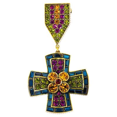 """Full Medal Sparkle"" Crystal Cross  Pin"