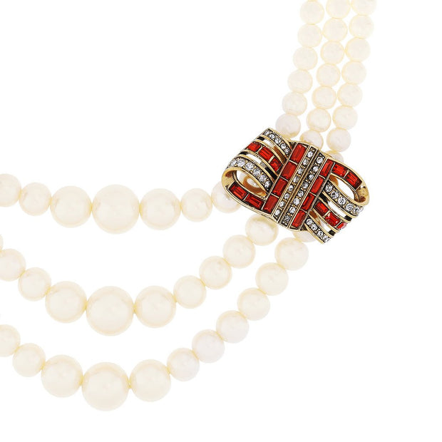 """Ribbon Candy"" Graduated Pearl Crystal Necklace - Heidi Daus®"
