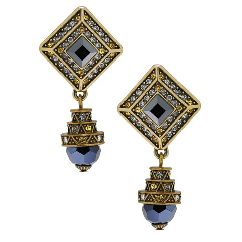 """Fabulous Foulard"" Beaded & Crystal Drop Earrings"