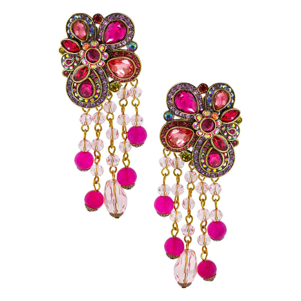 """Fire and Ice"" Beaded Crystal Drop Earrings - Heidi Daus®"