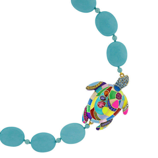 """Totally Tortoise"" Beaded Enamel & Crystal Turtle Necklace - Heidi Daus®"
