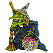 """Broom Heidi"" Crystal Witch Pin - Heidi Daus®"