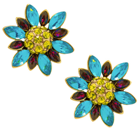 """Flippin Fabulous"" Crystal Floral Button Earrings"