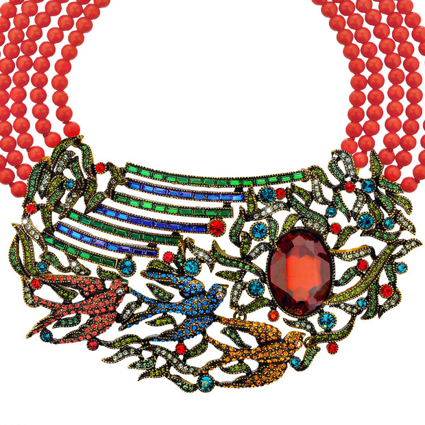 Swallow Bird Beaded Crystal Necklace - Heidi Daus®