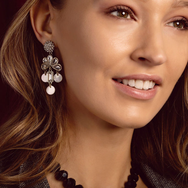 """Fusion Decoratifs"" Crystal & Mother of Pearl Dangle Earrings - Heidi Daus®"