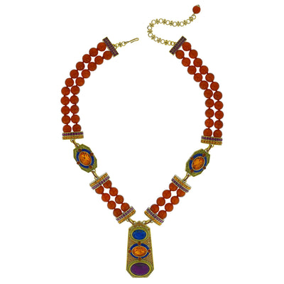 """Classically Modern""  Beaded Enamel & Crystal Deco Necklace"