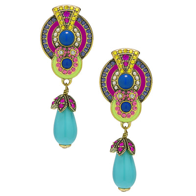 """La Conquista Brilla"" Beaded Enamel Resin & Crystal Deco Drop Earrings"