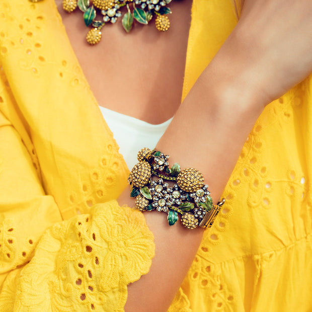 "HEIDI DAUS® ""Lemon Blossoms"" Enamel & Crystal Bangle Bracelet - Heidi Daus®"