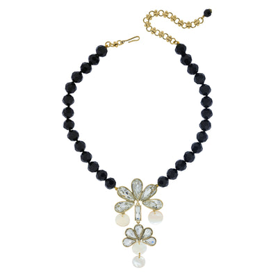 """Fusion Decoratifs"" Crystal Mother Of Pearls Drop Necklace"