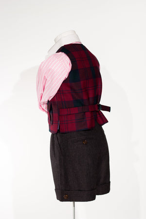 Georges - Gilet de pêcheur en plaid bordeaux